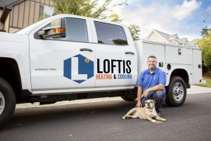 Loftis Heating & Cooling work truck